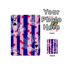 Line Vertical Polka Dots Circle Flower Blue Pink White Playing Cards 54 (mini)  by Mariart