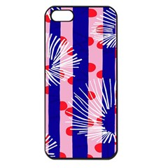 Line Vertical Polka Dots Circle Flower Blue Pink White Apple Iphone 5 Seamless Case (black) by Mariart