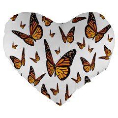 Butterfly Spoonflower Large 19  Premium Flano Heart Shape Cushions by Mariart