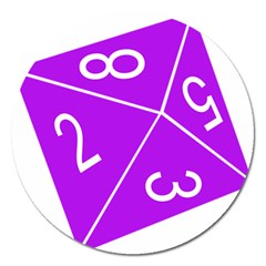 Number Purple Magnet 5  (round) by Mariart
