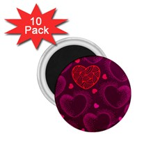 Love Heart Polka Dots Pink 1 75  Magnets (10 Pack)  by Mariart