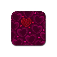 Love Heart Polka Dots Pink Rubber Square Coaster (4 Pack)  by Mariart
