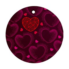 Love Heart Polka Dots Pink Round Ornament (two Sides) by Mariart
