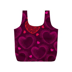 Love Heart Polka Dots Pink Full Print Recycle Bags (s)  by Mariart