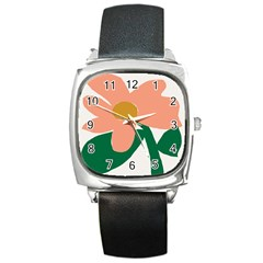 Peach Sunflower Flower Pink Green Square Metal Watch by Mariart