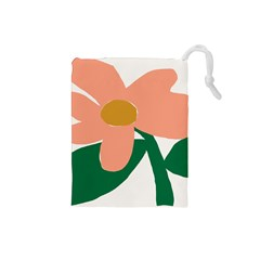 Peach Sunflower Flower Pink Green Drawstring Pouches (small)  by Mariart
