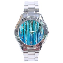 Line Tie Dye Green Kaleidoscope Opaque Color Stainless Steel Analogue Watch by Mariart