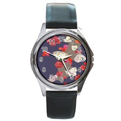 Original Butterfly Carnation Round Metal Watch by Mariart