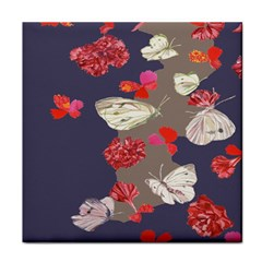 Original Butterfly Carnation Tile Coasters by Mariart