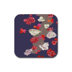 Original Butterfly Carnation Rubber Square Coaster (4 Pack)  by Mariart