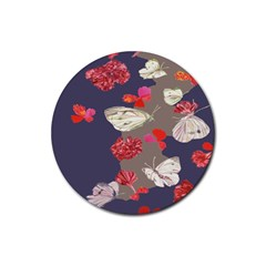 Original Butterfly Carnation Rubber Round Coaster (4 Pack)  by Mariart