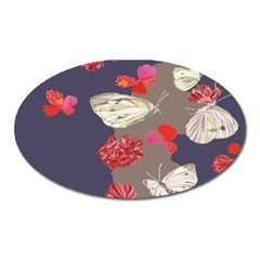 Original Butterfly Carnation Oval Magnet by Mariart
