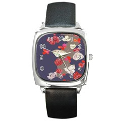 Original Butterfly Carnation Square Metal Watch by Mariart