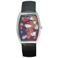 Original Butterfly Carnation Barrel Style Metal Watch by Mariart