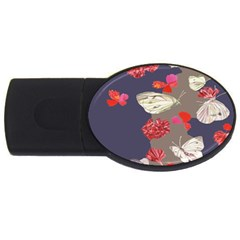Original Butterfly Carnation Usb Flash Drive Oval (4 Gb) by Mariart