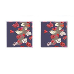 Original Butterfly Carnation Cufflinks (square) by Mariart