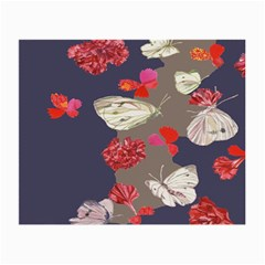 Original Butterfly Carnation Small Glasses Cloth (2 Side) by Mariart