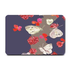 Original Butterfly Carnation Small Doormat  by Mariart