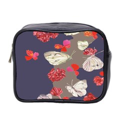 Original Butterfly Carnation Mini Toiletries Bag 2 Side by Mariart