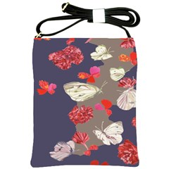 Original Butterfly Carnation Shoulder Sling Bags by Mariart