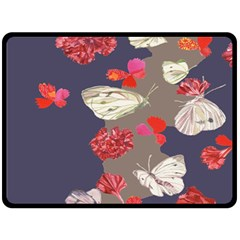 Original Butterfly Carnation Fleece Blanket (large)  by Mariart