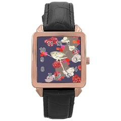 Original Butterfly Carnation Rose Gold Leather Watch  by Mariart