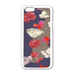 Original Butterfly Carnation Apple Iphone 6/6s White Enamel Case by Mariart