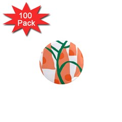 Portraits Plants Carrot Polka Dots Orange Green 1  Mini Magnets (100 Pack)  by Mariart