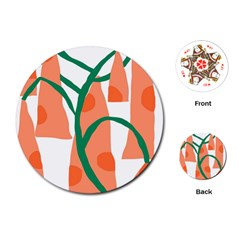 Portraits Plants Carrot Polka Dots Orange Green Playing Cards (round)  by Mariart