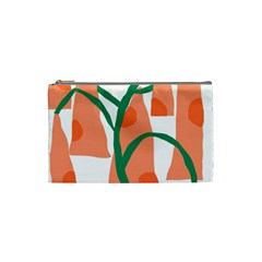 Portraits Plants Carrot Polka Dots Orange Green Cosmetic Bag (small)  by Mariart