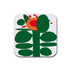 Portraits Plants Sunflower Green Orange Flower Rubber Square Coaster (4 Pack)  by Mariart