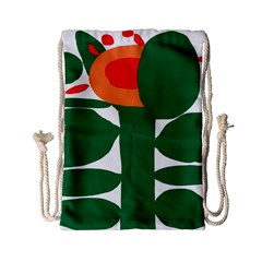 Portraits Plants Sunflower Green Orange Flower Drawstring Bag (small) by Mariart