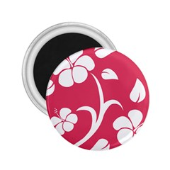 Pink Hawaiian Flower White 2 25  Magnets by Mariart