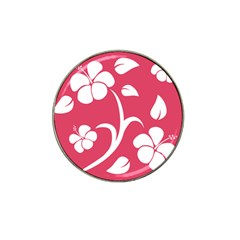 Pink Hawaiian Flower White Hat Clip Ball Marker by Mariart