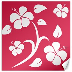 Pink Hawaiian Flower White Canvas 16  X 16   by Mariart