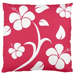 Pink Hawaiian Flower White Large Cushion Case (two Sides) by Mariart