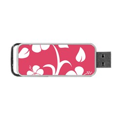 Pink Hawaiian Flower White Portable Usb Flash (two Sides) by Mariart