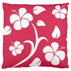 Pink Hawaiian Flower White Large Flano Cushion Case (one Side) by Mariart