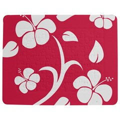 Pink Hawaiian Flower White Jigsaw Puzzle Photo Stand (rectangular) by Mariart