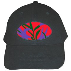 Purple Flower Red Background Black Cap by Mariart