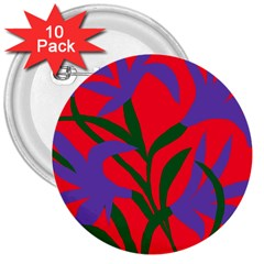 Purple Flower Red Background 3  Buttons (10 Pack)  by Mariart