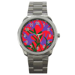 Purple Flower Red Background Sport Metal Watch by Mariart