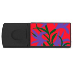 Purple Flower Red Background Usb Flash Drive Rectangular (4 Gb) by Mariart