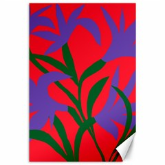 Purple Flower Red Background Canvas 24  X 36  by Mariart