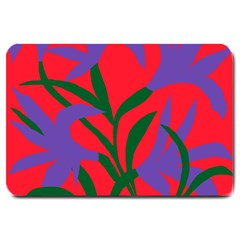 Purple Flower Red Background Large Doormat  by Mariart