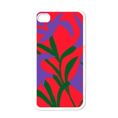 Purple Flower Red Background Apple Iphone 4 Case (white) by Mariart