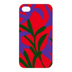 Purple Flower Red Background Apple Iphone 4/4s Hardshell Case by Mariart