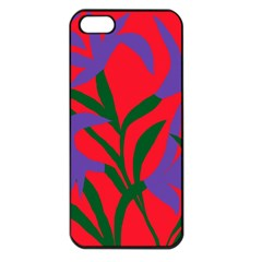 Purple Flower Red Background Apple Iphone 5 Seamless Case (black) by Mariart