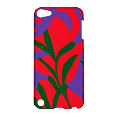 Purple Flower Red Background Apple Ipod Touch 5 Hardshell Case by Mariart