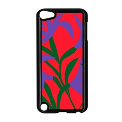Purple Flower Red Background Apple Ipod Touch 5 Case (black) by Mariart